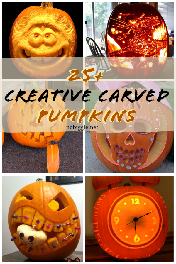 Carved pumpkins can be messy but so fun! We gathered some amazing carved pumpkins to inspire you! #pumpkins #halloween #carvedpumpkins #pumpkincarvers #pumpkinideas