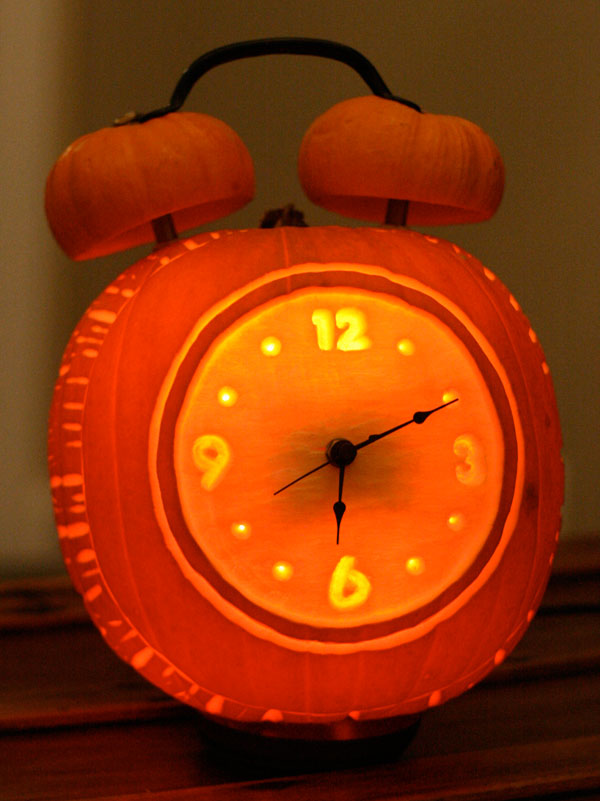 Alarm Clock Carved Pumpkin | 25+ Creative Carved Pumpkins