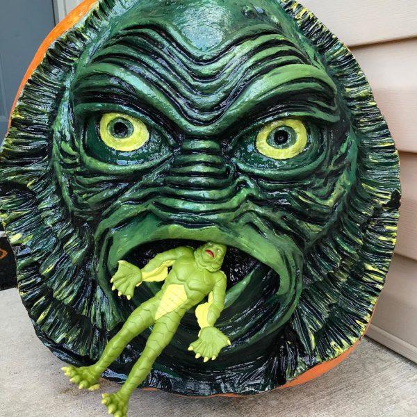 Black Lagoon Creature Carved Pumpkin | 25+ Creative Carved Pumpkins