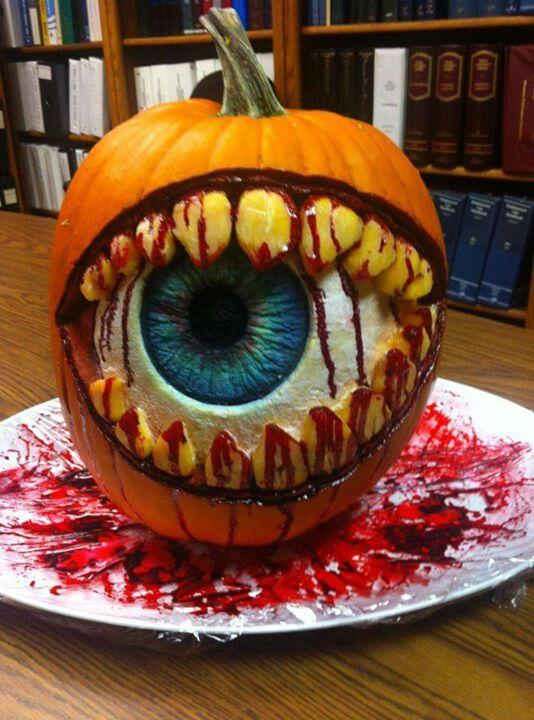 Bloody Eyeball Carved Pumpkin | 25+ Creative Carved Pumpkins