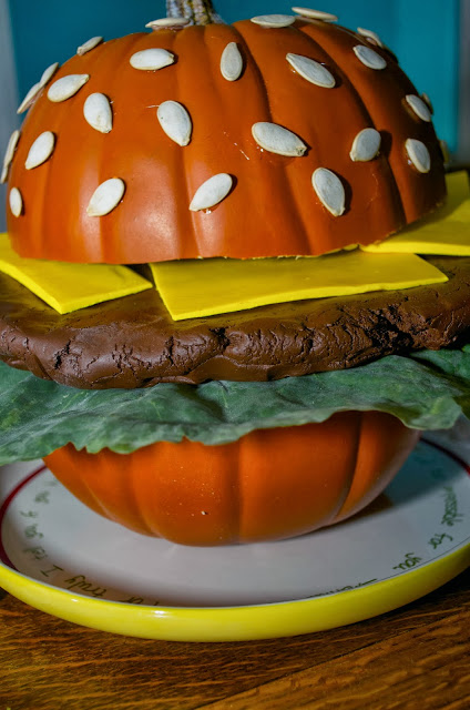 Cheeseburger Carved Pumpkin | 25+ Creative Carved Pumpkins