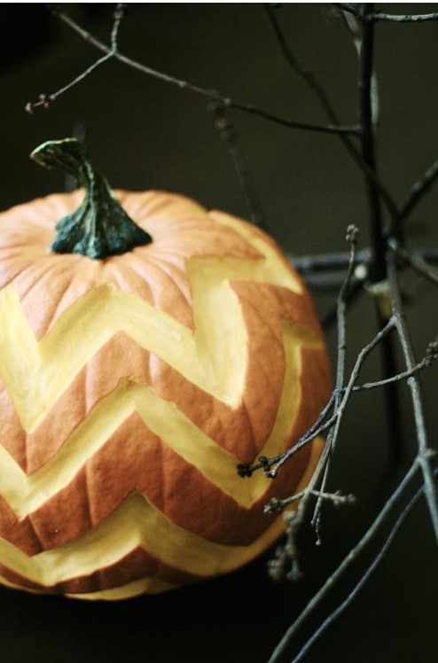 Chevron Carved Pumpkin | 25+ Creative Carved Pumpkins