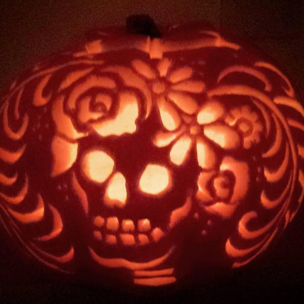 Day of the Dead Carved Pumpkin | 25+ Creative Carved Pumpkins