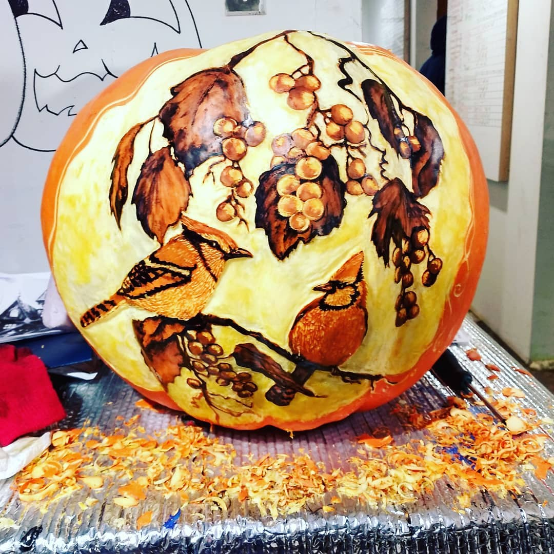 Grape Vine and Birds Carved Pumpkin | 25+ Creative Carved Pumpkins