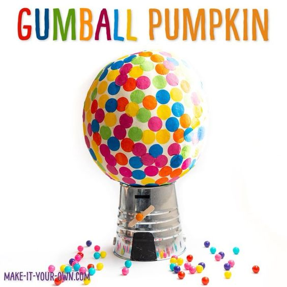 Gumball Machine Pumpkin | 25+ MORE no carve pumpkin ideas