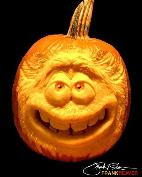 Happy Monster Face Carved Pumpkin | 25+ Creative Carved Pumpkins
