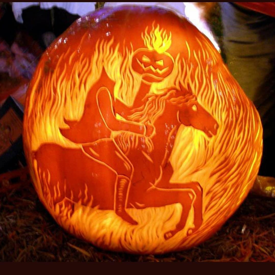 Headless Horseman Carved Pumpkin | 25+ Creative Carved Pumpkins