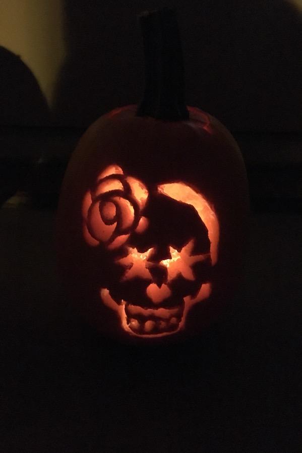 fancy sugar skull carved pumpkin