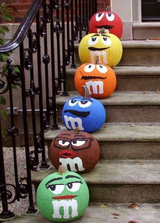 M&M Painted Pumpkins | 25+ MORE no carve pumpkin ideas