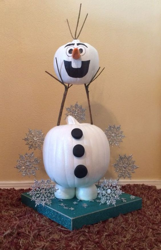 Olaf Pumpkin | 25+ MORE no carve pumpkin ideas