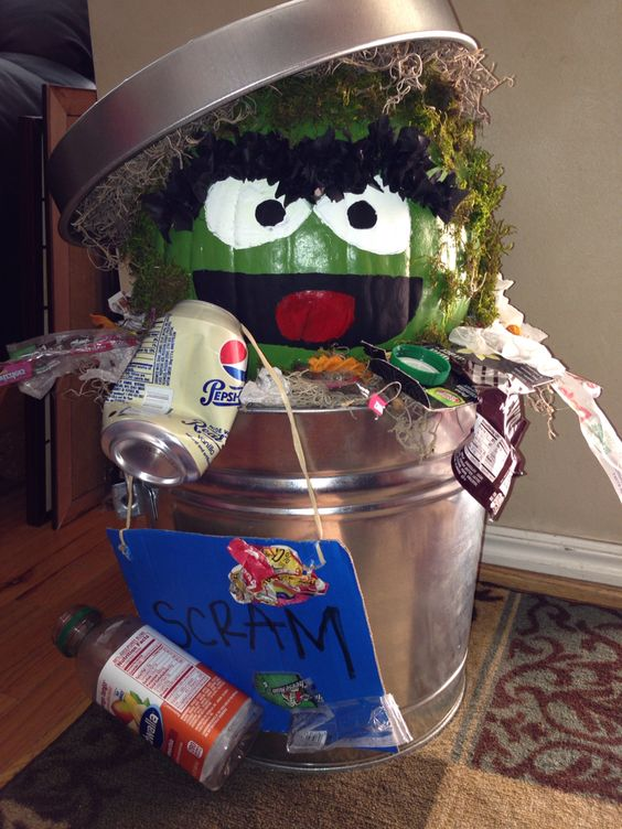 Oscar the Grouch Pumpkin | 25+ MORE no carve pumpkin ideas