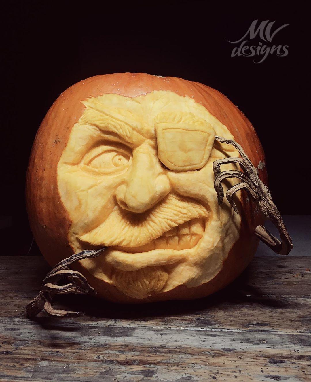 Pirate Carved Pumpkin | 25+ Creative Carved Pumpkins