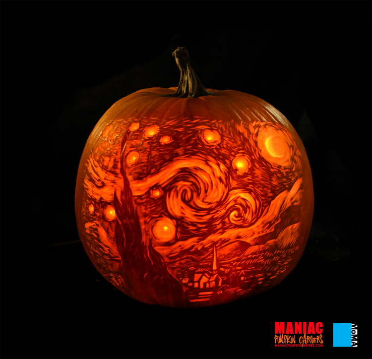 Starry Night Carved Pumpkin | 25+ Creative Carved Pumpkin