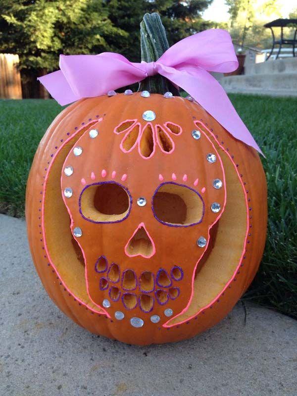Sugar Skull Carved Pumpkin | 25+ Creative Carved Pumpkins