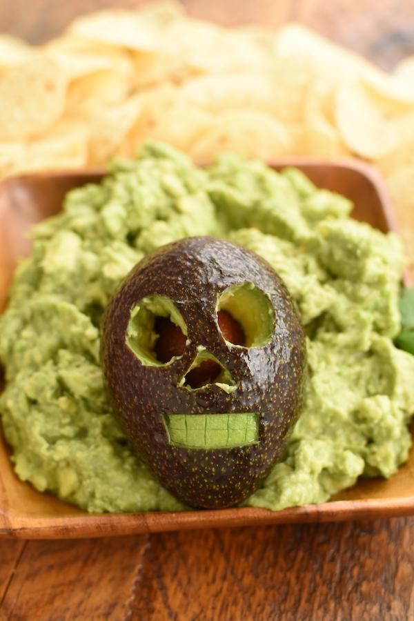 avocado skull guacamole