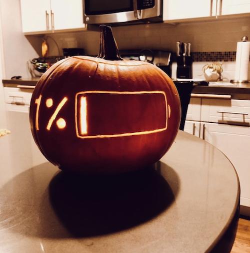 1% battery carved pumpkin