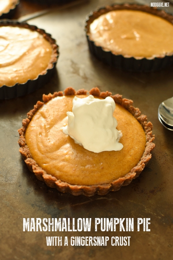 marshmallow pumpkin pie with a gingersnap cookie crust