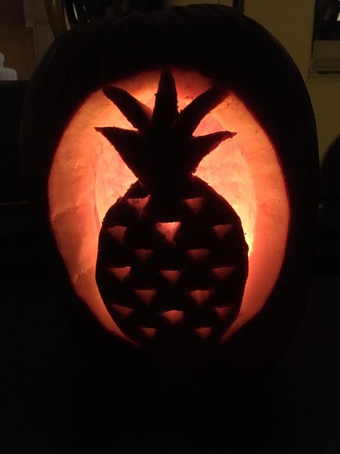 pineapple design carved pumpkin