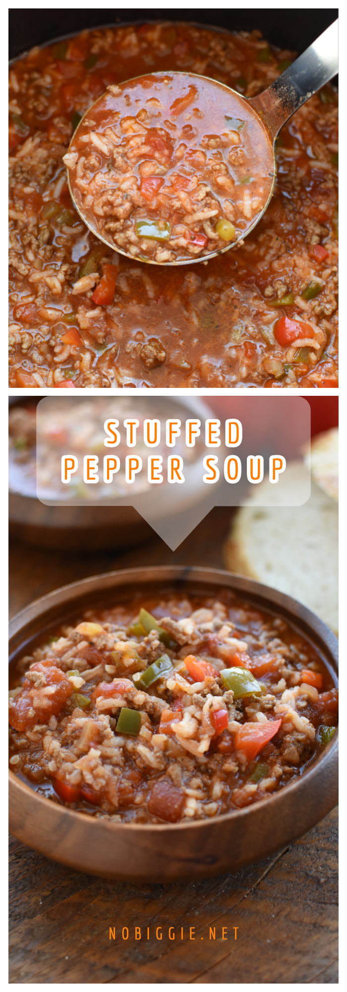 Stuffed pepper soup loaded with ground beef, chopped bell peppers, onions and rice in a tomato based broth. If you love stuffed peppers you will love this soup it is the same delicious taste with a lot less work! #stuffedpeppersoup #heartysoup #souprecipe #stuffedpepper #nobiggierecipes