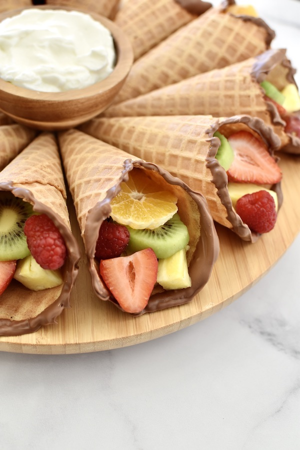 cones with fruit and chocolate