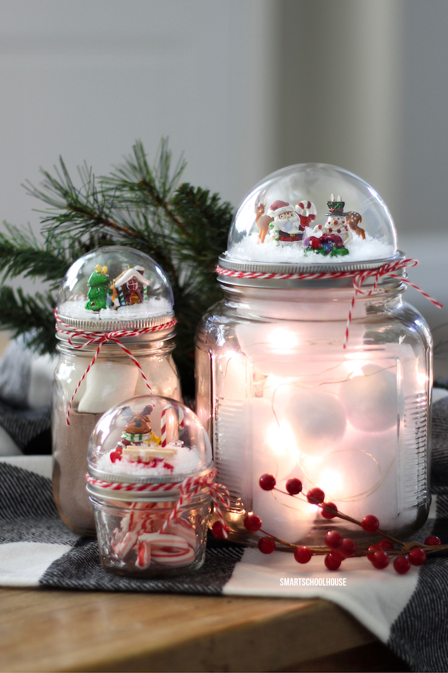Mason jar snow globe lid | 25+ more mason jar gift ideas