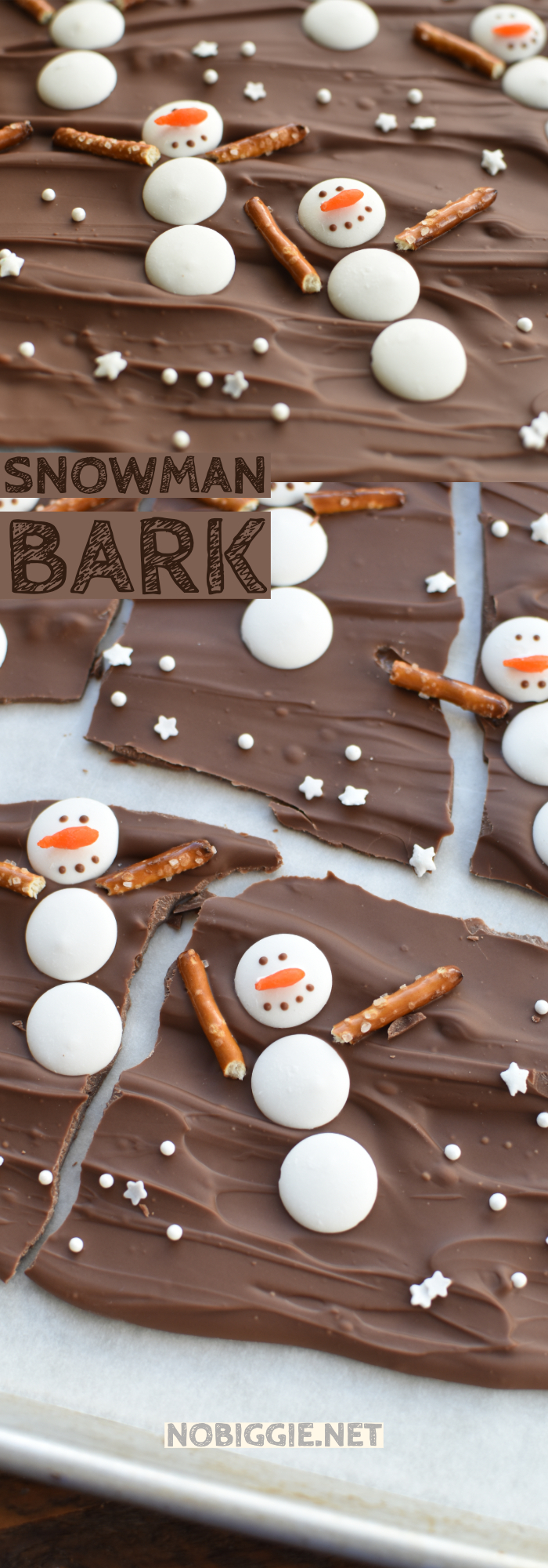 Make snowman bark for the holidays or to celebrate the season of winter. This is a sweet treat everyone will love. #nobiggierecipes #snowmanbark #chocolatebark #chocolatebarkrecipes #chocolatebark #christmasbark