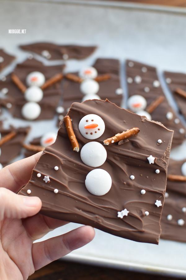 snowman holiday bark