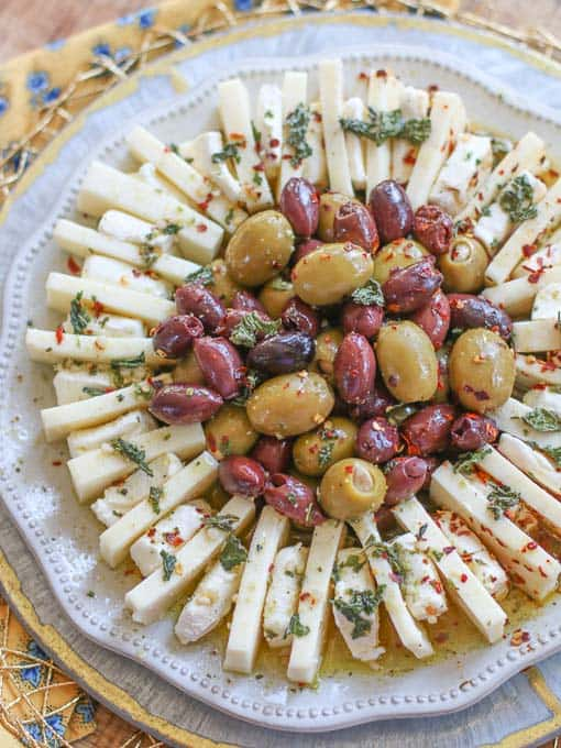 Marinated olives and cheese | 25+ MORE Easy No Cook Appetizers