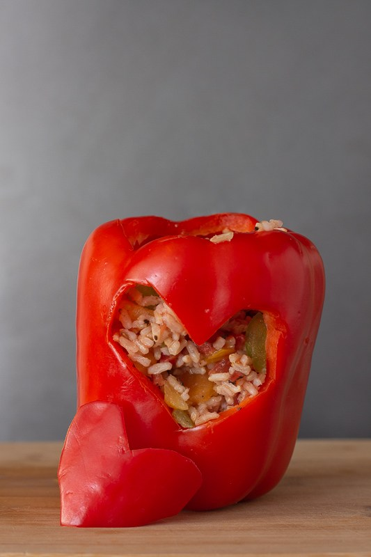 Heart Shaped Stuffed Red Pepper | 25+ MORE Heart Shaped Food