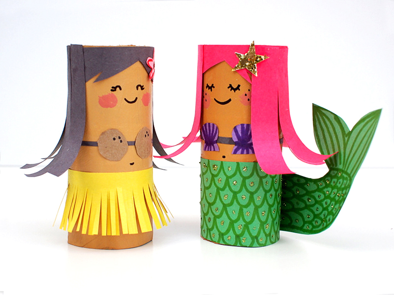 Paper Roll Hula Girl and Mermaid | Toilet Paper Roll Crafts