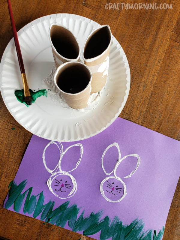Toilet Paper Roll Bunny Stamps | Toilet Paper Roll Crafts