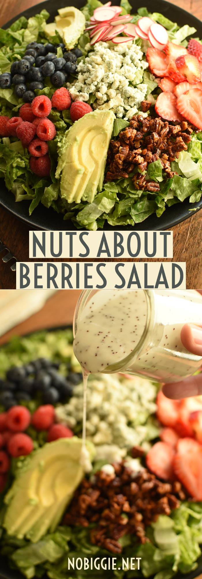 A delicious salad loaded with fresh berries and served with creamy blue cheese crumbles, avocado slices and tossed with a homemade poppyseed dressing. #freshberries #nutsforberriessalad #salad #saladrecipes