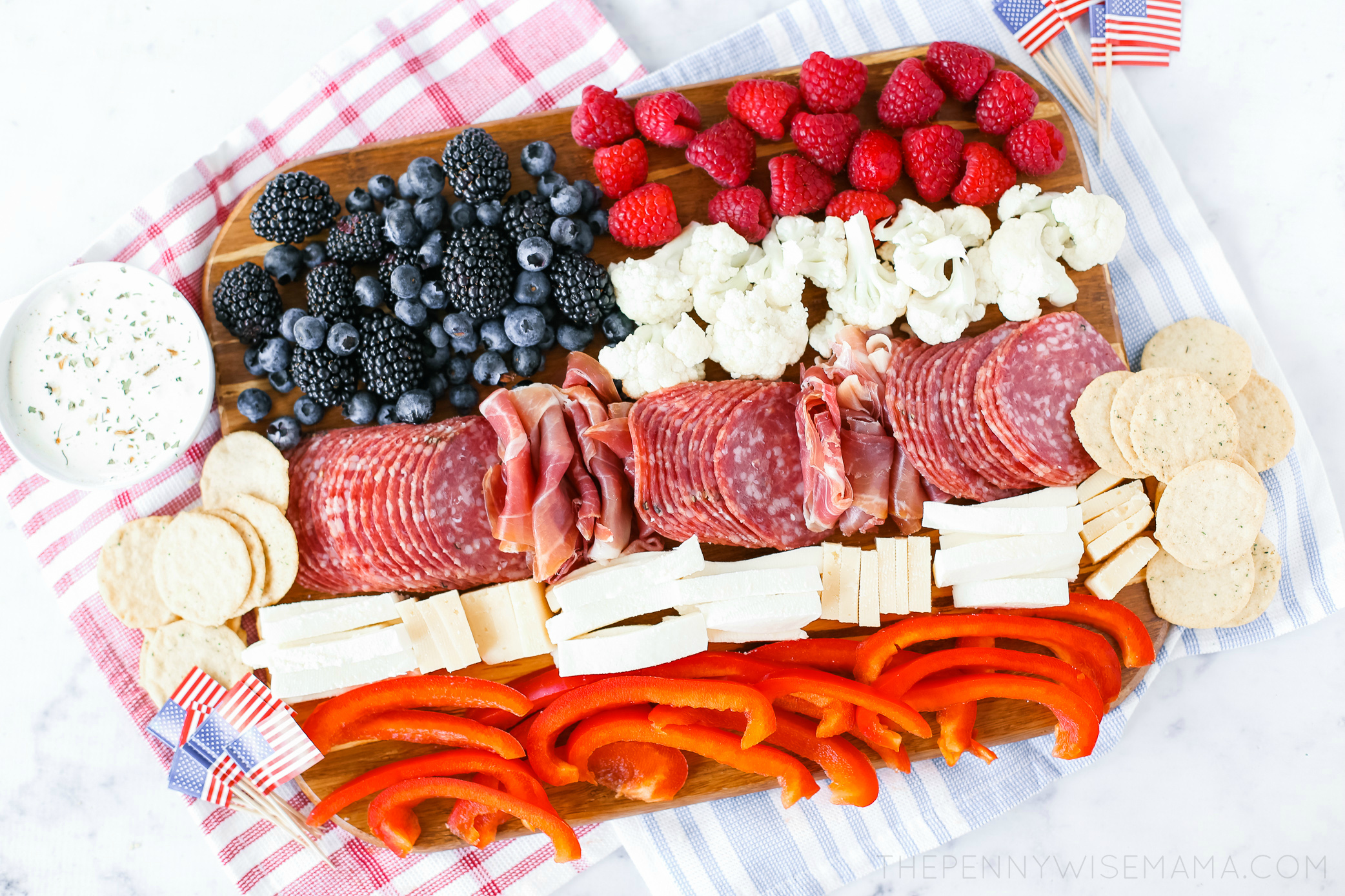 American Flag Appetizer Charcuterie Board | Patriotic Charcuterie Boards