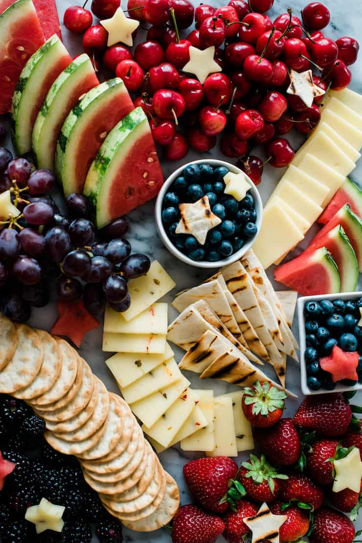 Red White and Blue Fruit and Cheese Board | Patriotic Charcuterie Boards