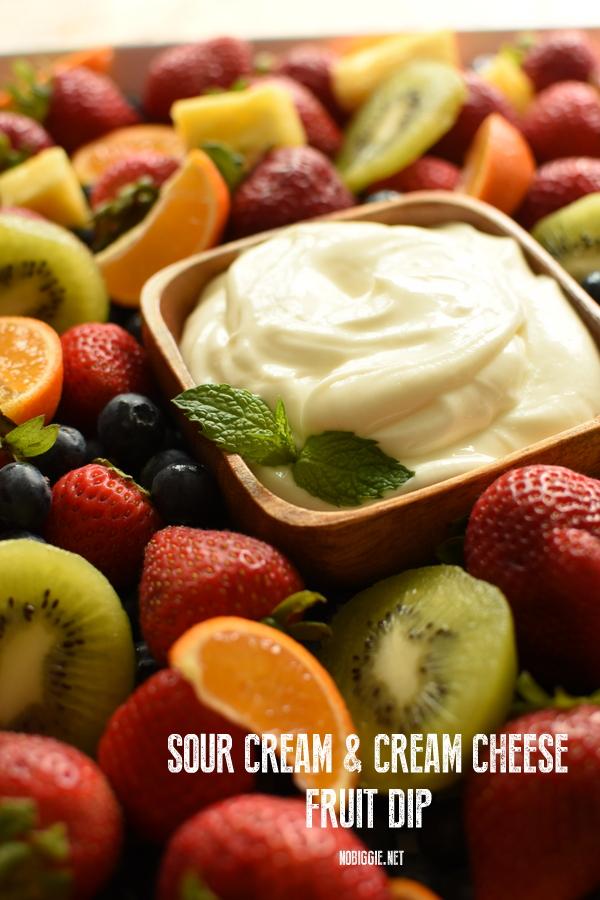 sour cream cream cheese fruit dip | Shower Finger Foods