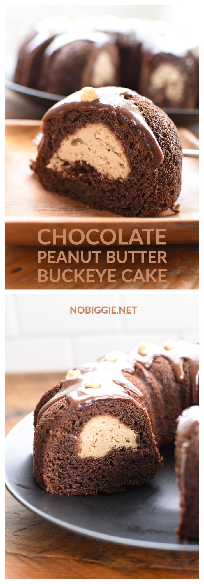 Chocolate Peanut Butter buckeye bundt cake | NoBiggie.net