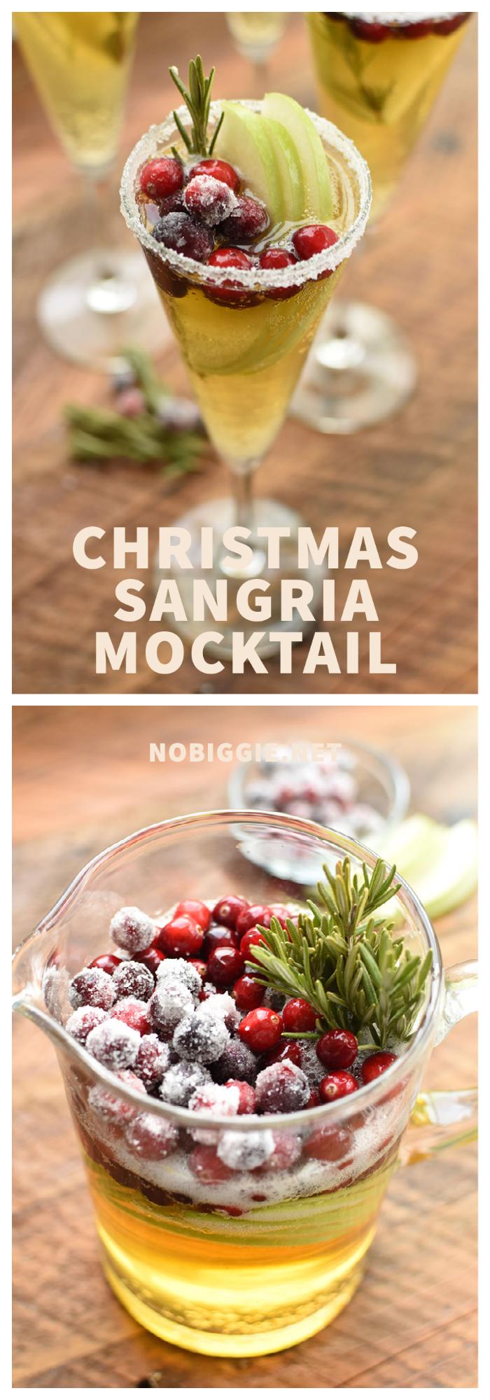 Christmas Sangria Holiday mocktail | NoBiggie.net